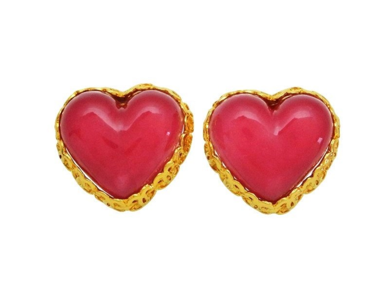 Chanel CC Logo Gold Tone Metal Framed Pink Heart Earrings