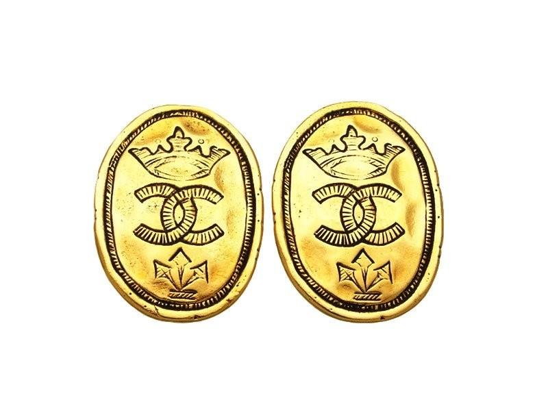 Chanel CC Logo Gold Tone Metal Crown Round Earrings