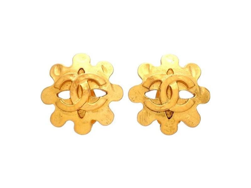 Vintage Chanel Earrings Gold CC Logo Flower