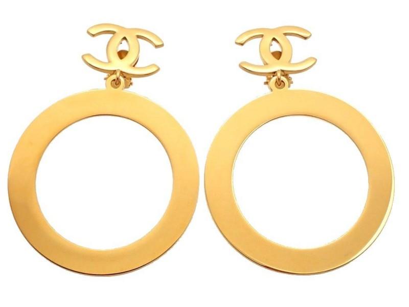 Vintage Chanel Earrings Gold CC Logo Clip Huge Hoop Dangle