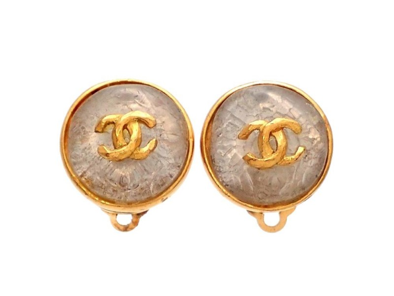Vintage Chanel Earrings Gold Framed Clear Stone CC