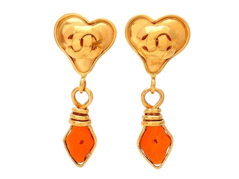 Vintage Chanel Earrings Gold Heart Clip CC Amber Stone Dangle