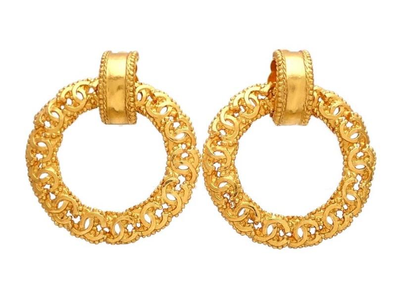 Vintage Chanel Earrings Gold CC CC Hoop Dangle