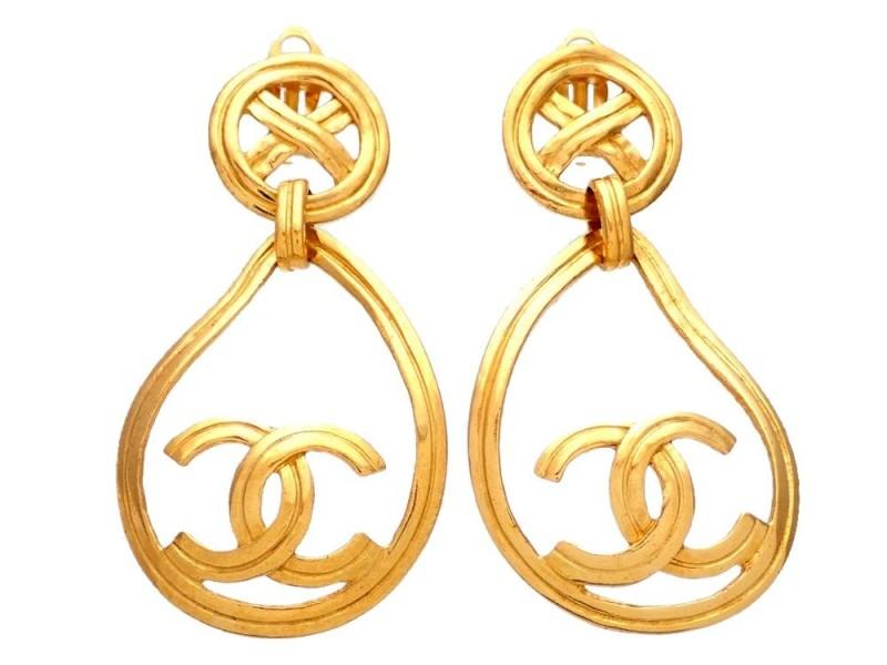 Vintage Chanel Earrings Round Cross Clip Teardrop Hoop CC Logo Dangled