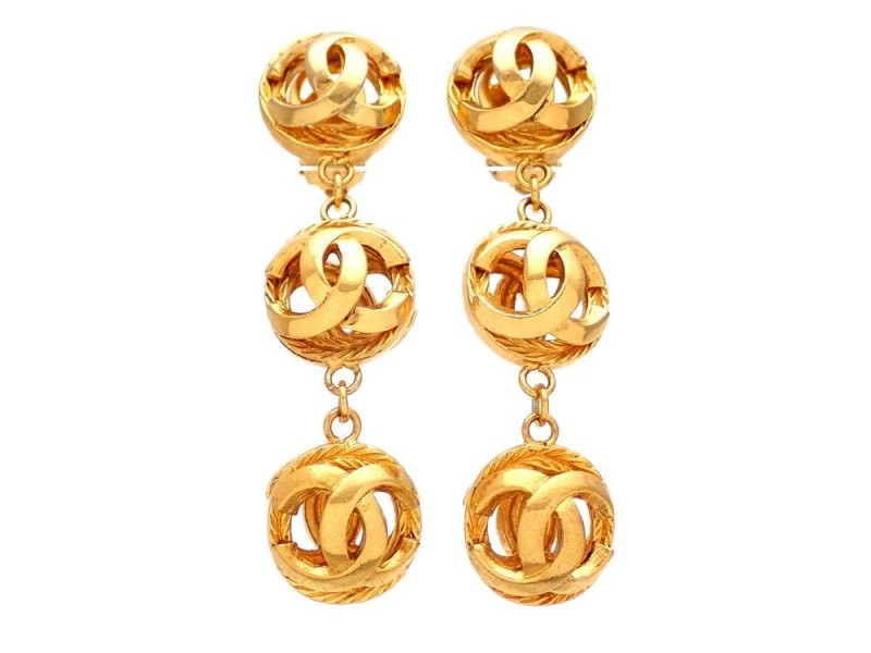Vintage Chanel Earrings CC Logo Balls Dangled