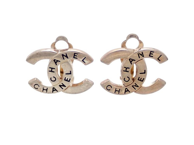 Vintage Chanel Earrings Silver Cc Engraved Logo Double C