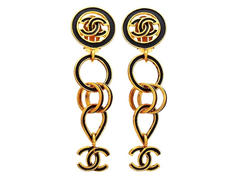 Vintage Chanel Earrings Black Hoops CC Logo Double C Dangled