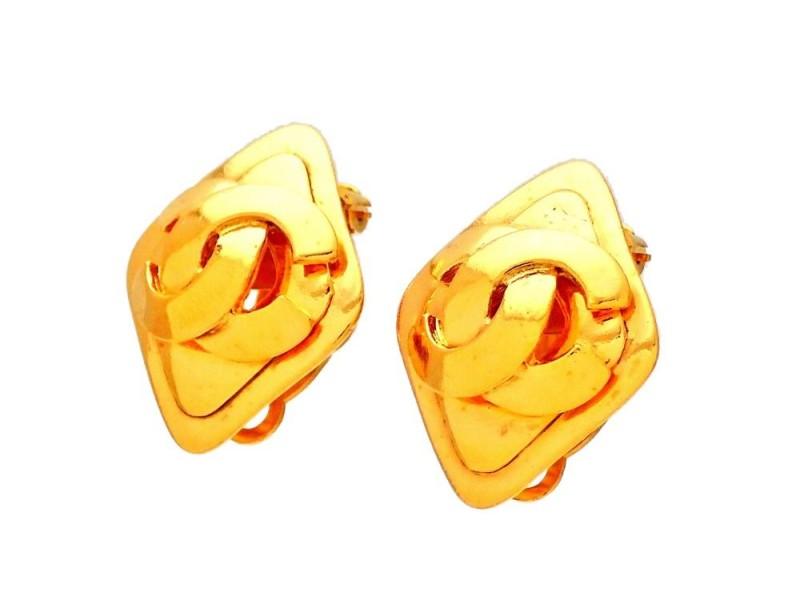 Vintage Chanel Earrings Rhombus CC Logo