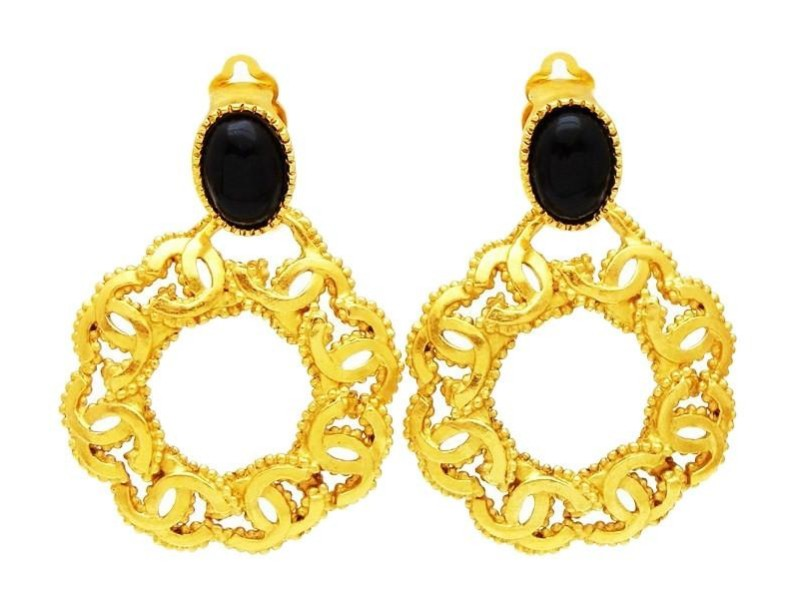 Chanel Gold Tone Hardware Black Stone CC Hoop Vintage Earrings