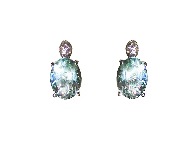 H. Stern 18K White Gold Aquamarine & Diamond Earrings