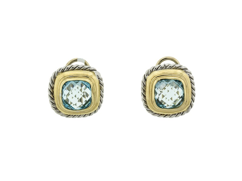 14k White And Yellow Gold Citra Topaz Square Earrings