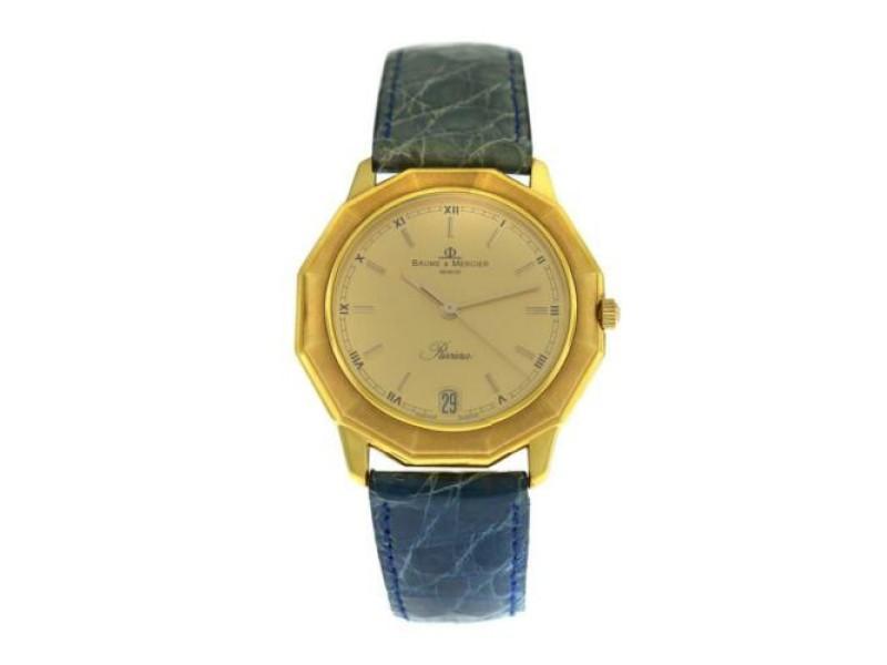Unisex Baume & Mercier Riviera Watch 87012 18K Yellow Gold Quartz 34MM