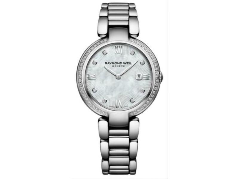 Ladies' Raymond Weil Shine 1600-STS-00995 Steel Diamond MOP 32MM Quartz Watch