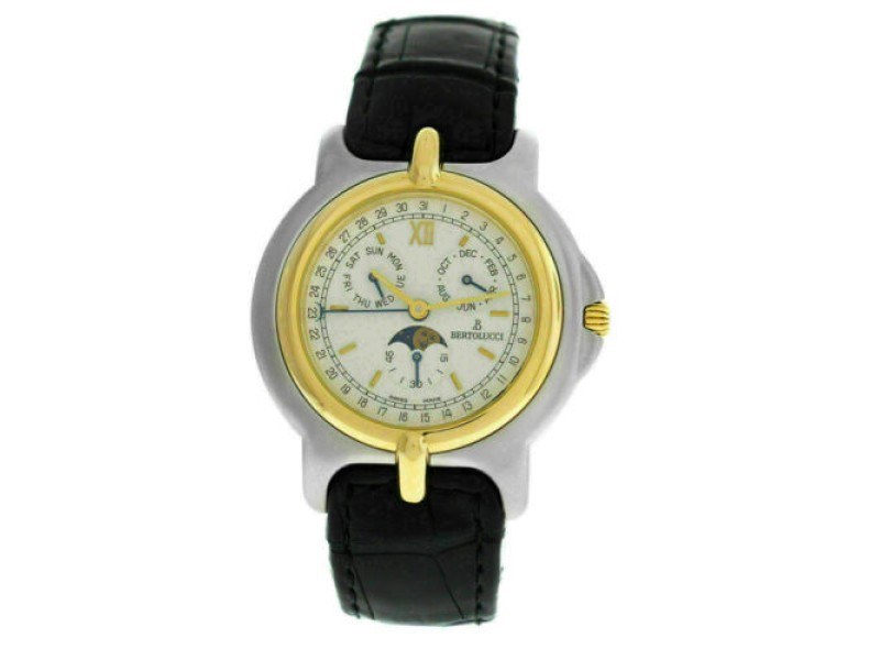 Unisex Bertolucci Pulchra 225.8050.49 Calendar Moon Steel Gold Quartz 36MM Watch