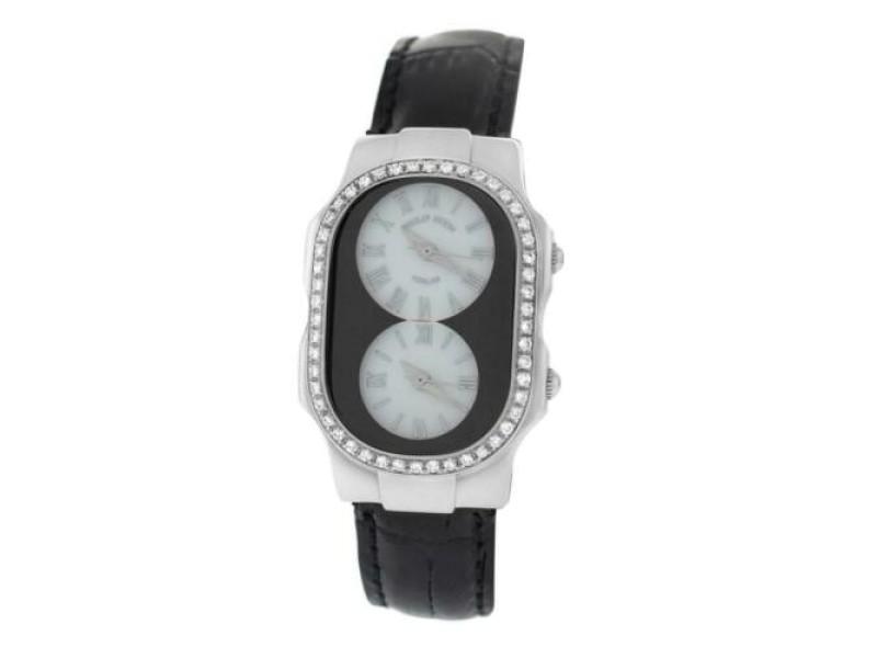 Ladies Philip Stein Teslar 2 Time Zone Steel Diamond 27MM Quartz Watch