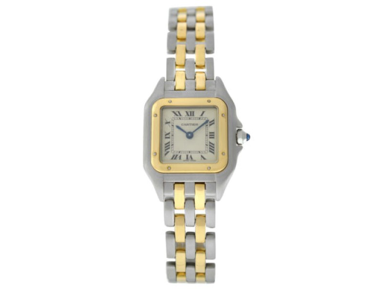 Cartier Panthere 1120 Steel 18K  Yellow Gold Two Row 22MM Quartz Watch