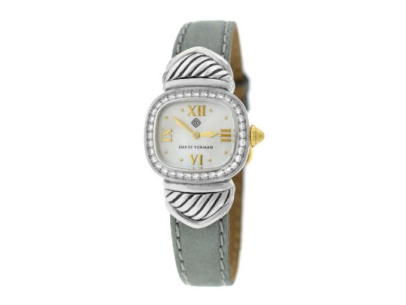 Ladies David Yurman Thoroughbred Silver 925 MOP Diamond 21MM Quartz Watch