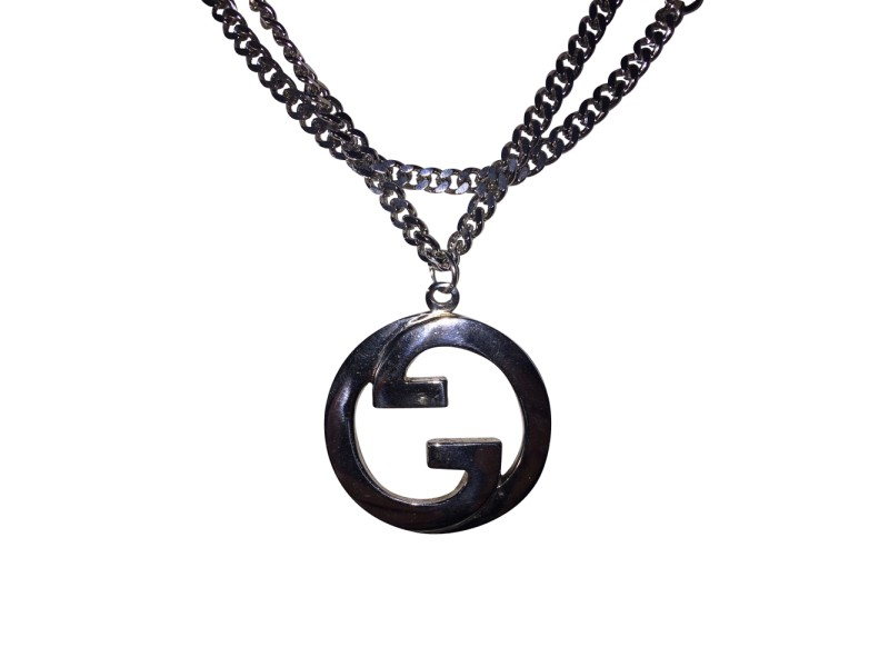 Gucci Large Rhoduim Sterling Silver Plated Gucci Pendant Vintage Necklace