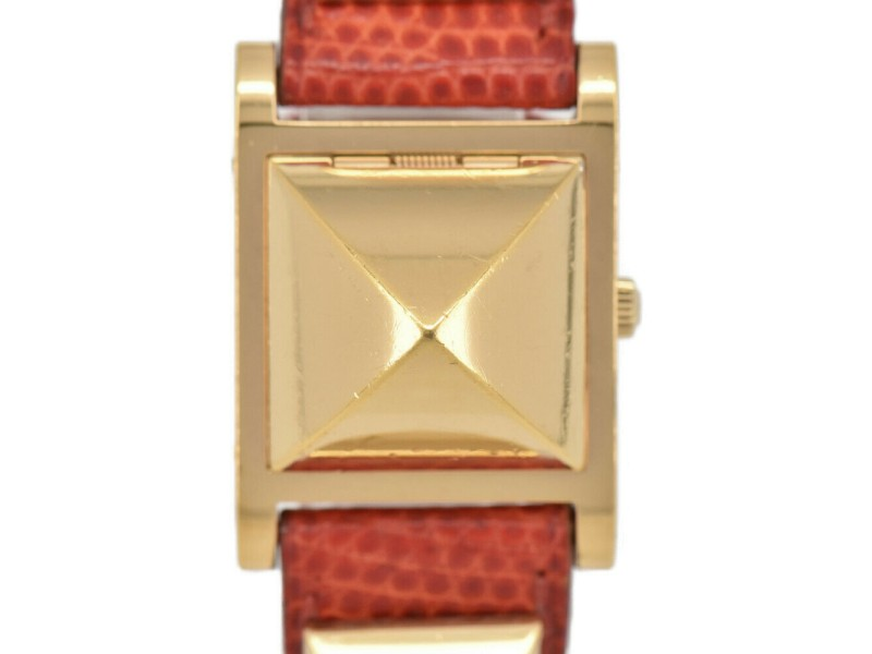 HERMES Medor White Dial Gold Plated/Leather Quartz Ladies Watch