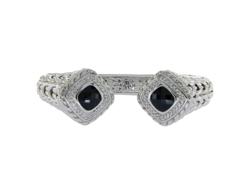 John Hardy 925 Sterling Silver Diamond & Onyx Classic Chain Bangle Bracelet