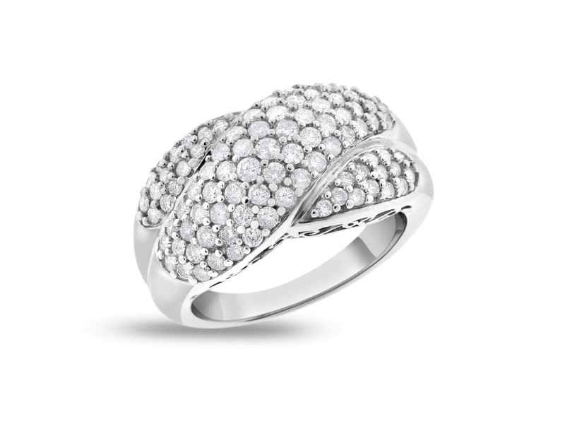 14k White Gold 1.50 Ct. Natural Diamond Braided Crossover Fashion Ring Size 5.25