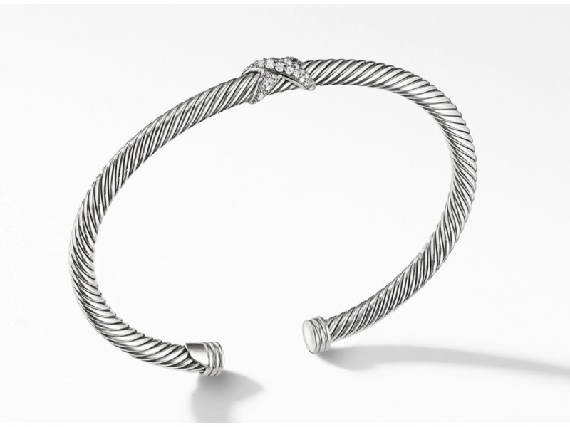 David Yurman Sterling Silver X Station Bracelet with Diamonds, 4mm