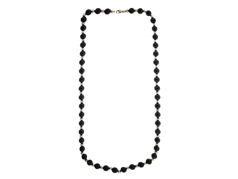 Tiffany & Co. Sterling Silver and Black Onyx Beaded Long Necklace
