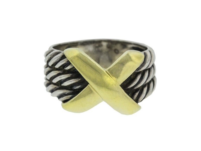 David Yurman 14k Yellow Gold and Silver X Crossover Ring
