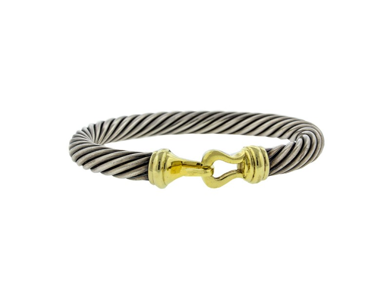 David Yurman 18k Yellow Gold and Steel Cable Belt Buckle Bracelet