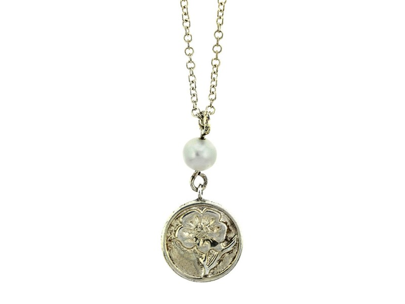 Tiffany & Co. Silver Nature Rose with Pearl Charm Necklace