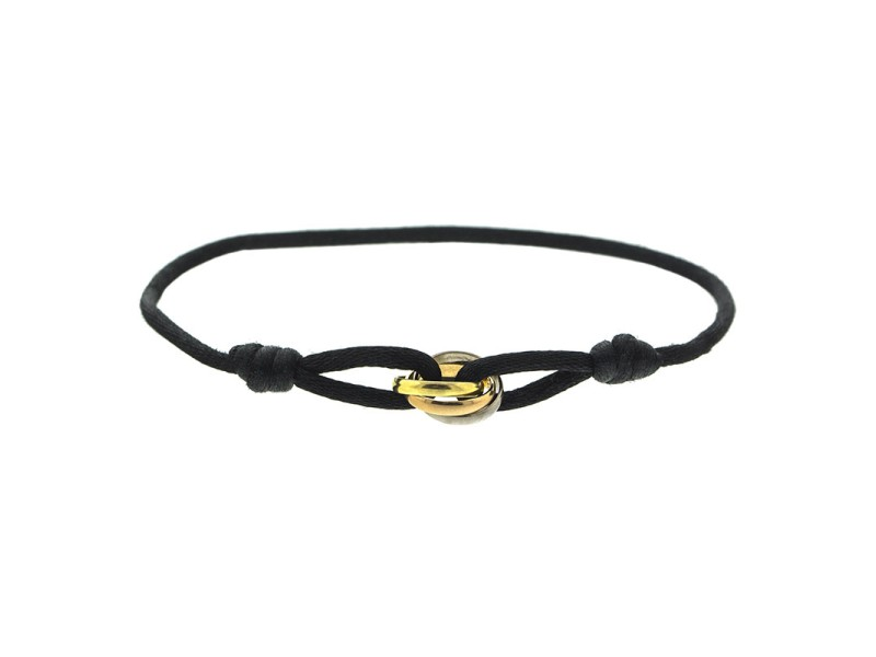 Cartier Trinity Bracelet On Black Cord