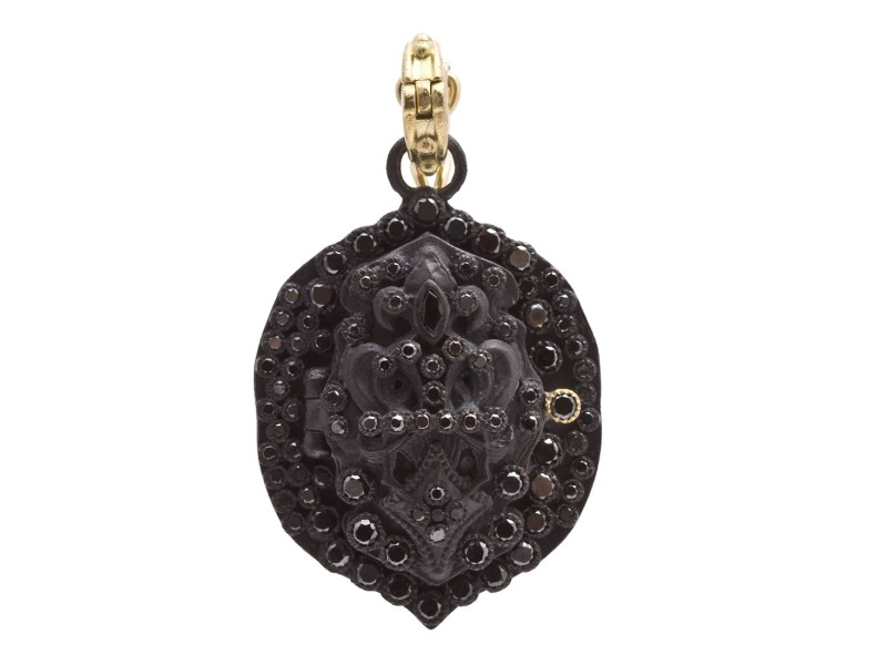 Armenta Old World 18k Yellow Gold Blackened Sterling Silver Black Diamond and Sapphire Pendant