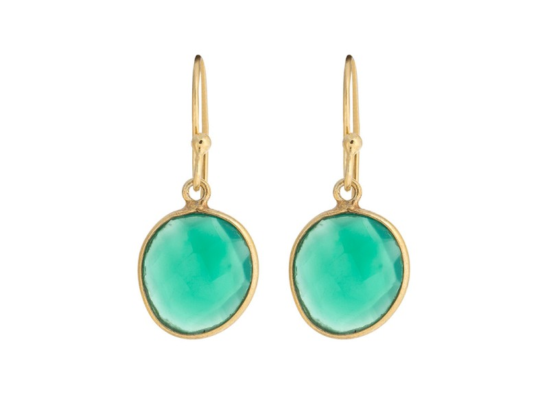 Citrine and Green Onyx Gold Plated Sterling Silver Earrings