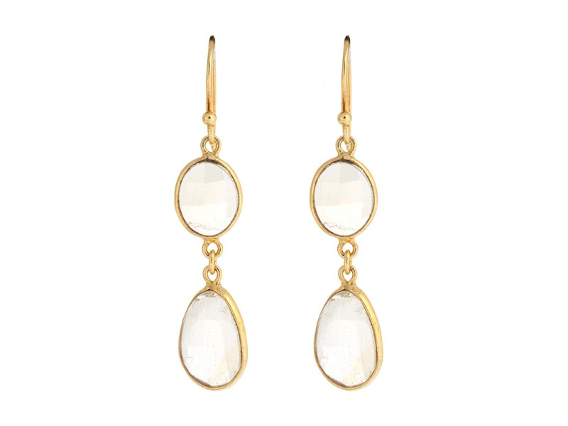 Gold Plated Sterling Silver Quartz Earrings