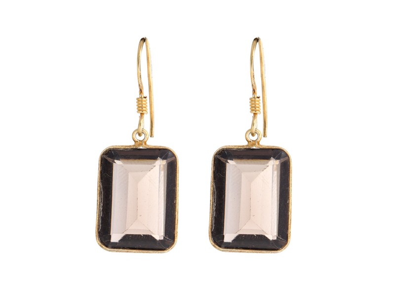 Smoky Topaz Gold Plated Sterling Silver Earring
