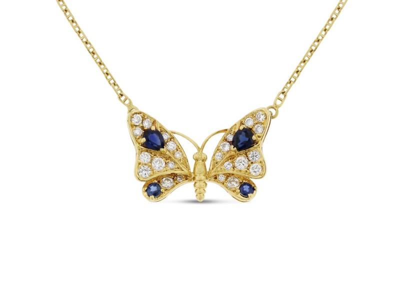 18K Yellow Gold Diamond & Sapphire Butterfly Pendant Necklace