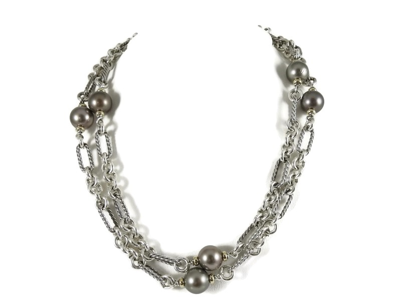 David Yurman Sterling Silver and 18K Yellow Gold with Cultured Gray Pearl Figaro Bijoux Toggle Necklace