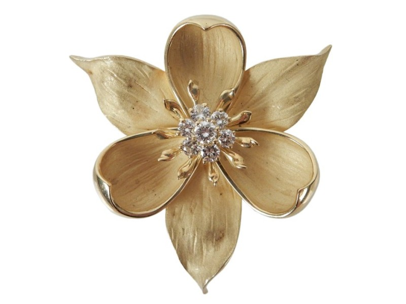 18K Yellow Gold with 0.65ctw. Diamond Flower Pendant-Brooch
