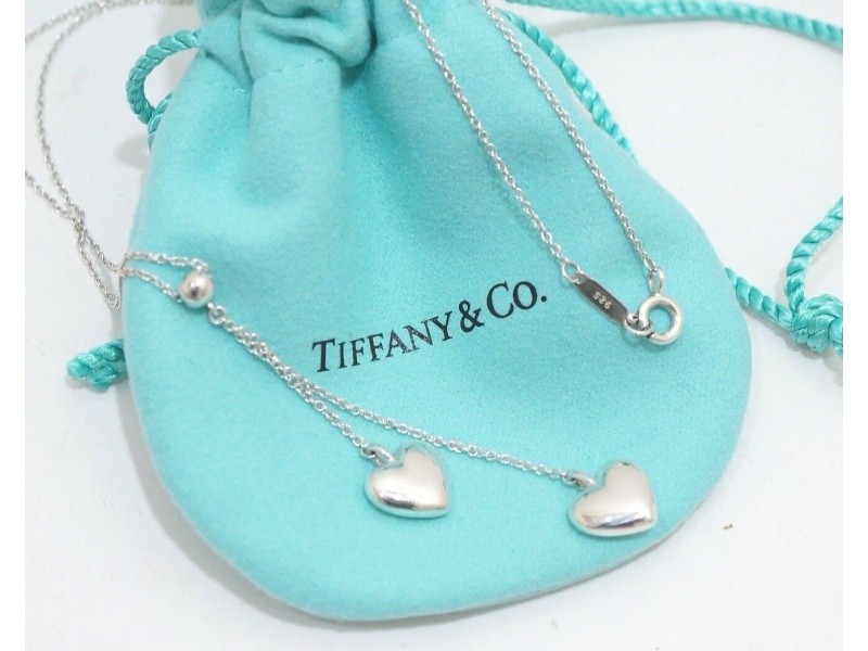 Tiffany & Co. Sterling Silver Double Puffed Heart Dangle Charm Pendant Necklace