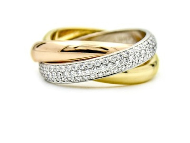 Trinity de Cartier tri gold .99 ct diamond ring siz 54 (just polished by Cartier)