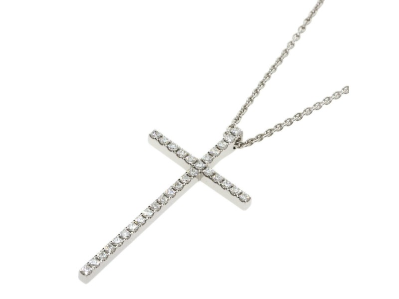 TIFFANY & Co. 18k White Gold diamond Metrocross Large Necklace