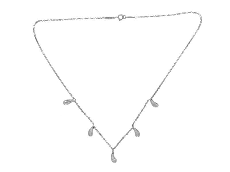 Tiffany & Co. 925 Sterling Silver Elsa Peretti 5 Teardrop Necklace