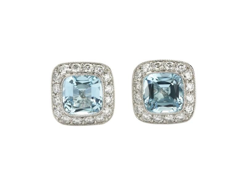 Tiffany & Co. Legacy Platinum Aquamarine Diamond Stud Earrings