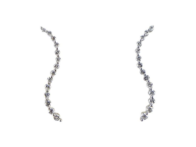 14K White Gold Curved Diamond Dangle Earrings
