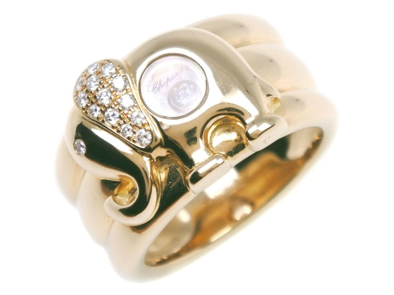 Chopard 18k yellow gold/diamond Happy Ring
