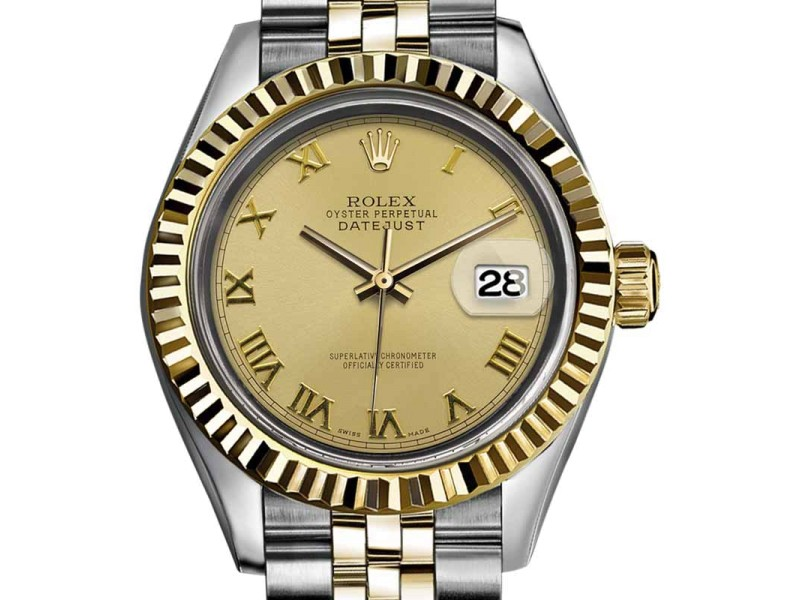 Rolex Datejust Stainless Steel / 18K Yellow Gold With Gold Roman Numeral Dial 36mm Mens Watch