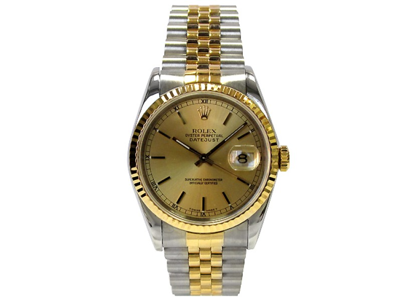 Rolex Datejust 16233 18K Yellow Gold & Stainless Steel Champagne Dial 36mm Mens Watch