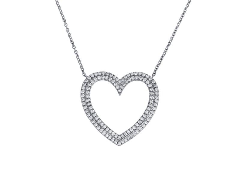 Tiffany & Co. Large Metro Platinum Diamond Double Row Heart Pendant Necklace