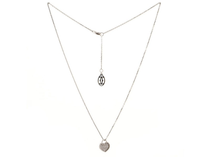 Cartier Heart Paved Diamond Pendant Necklace 18K White Gold and Diamonds