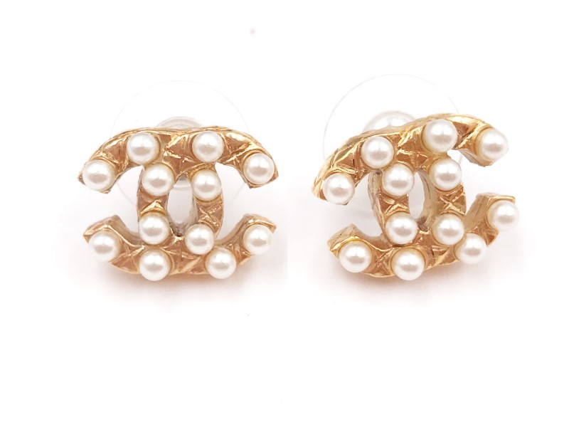 Chanel CC Gold Tone & Simulated Glass Pearl Piercing Earrings